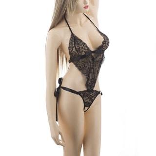 Zodaca Women's Black Sexy Hot Pierced Lace Piece Suit Lingerie Underwear Sleepwear