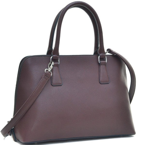 Dasein Buffalo Faux Leather Zip-Around Handbag Satchel Bag