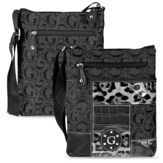 Zodaca Women's Black Jacquard Fabric Crossbody Bag KCE2028