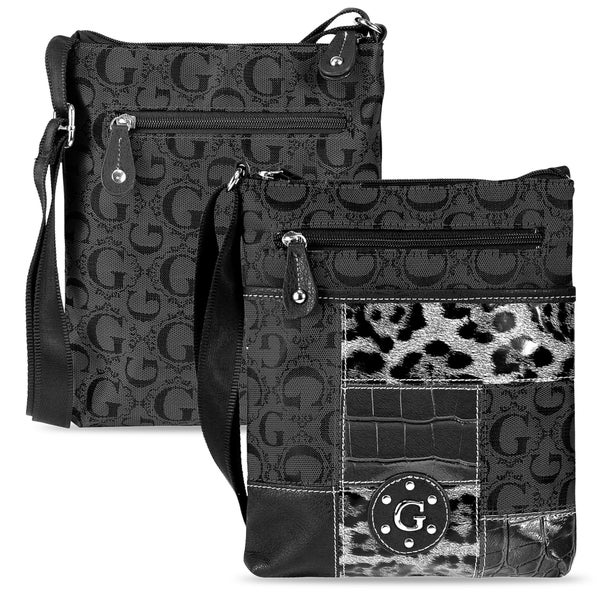 Zodaca Women's Black Jacquard Fabric Crossbody Bag KCE2028