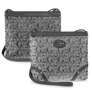Zodaca Women's Grey Jacquard Fabric Crossbody Bag KCE2016