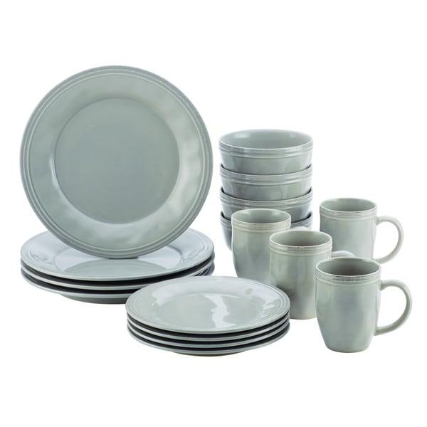 Rachael Ray(r) Cucina Dinnerware 16-Piece Stoneware Dinnerware Set, Sea Salt Grey 17252034