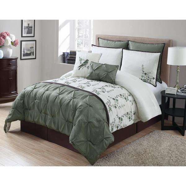 Green Pintuck Floral Queen Sized 8-Piece Comforter Set