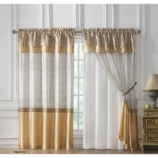VCNY Sabrina Embroidered Curtain Panel with Attached Double Valance & Backing