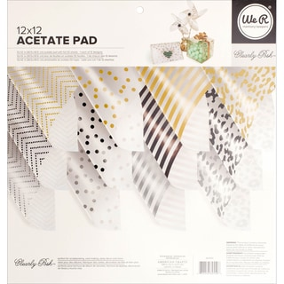 We R Memory Keepers Acetate Pad 12inX12in 12/Pkg Clearly Posh W/Foil