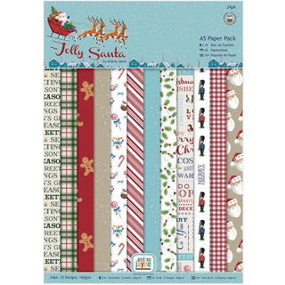 Papermania Single Sided Paper Pack A5 24/Pkg Jolly Santa