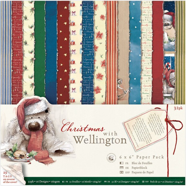 Wellington Single Sided Paper Pack 6inX6in 32/Pkg Christmas