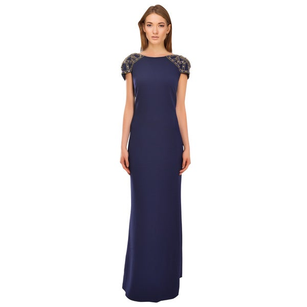 Badgley Mischka Navy Slimming Silhouette Artistic Embellished Gown Dress
