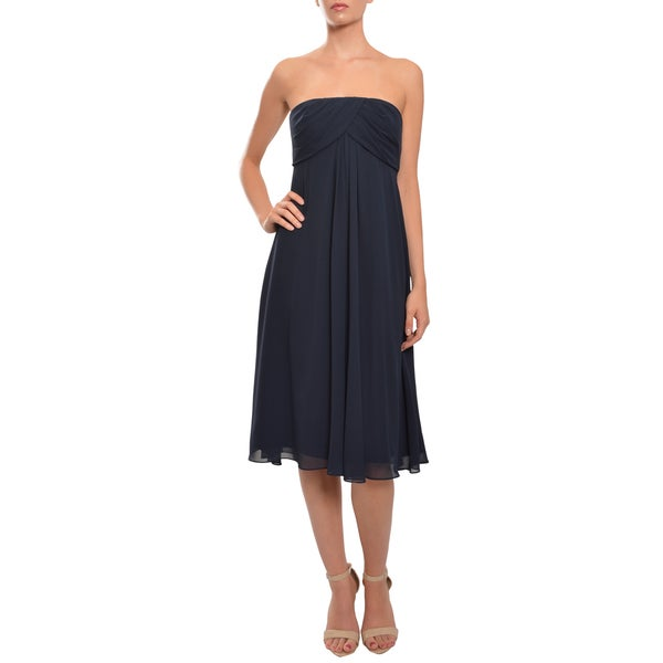 Badgley Mischka Navy Strapless Chiffon Empire Waist Eve Dress