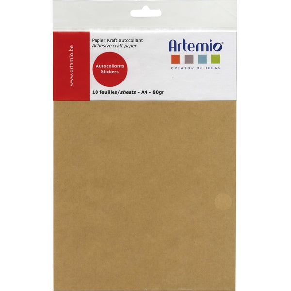 Artemio A4 Adhesive Kraft Paper Sheets (Pack of 10)