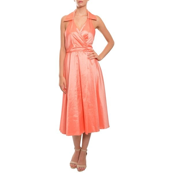 Badgley Mischka Bridesmaids Coral Halter Wrap Taffeta Evening Dress