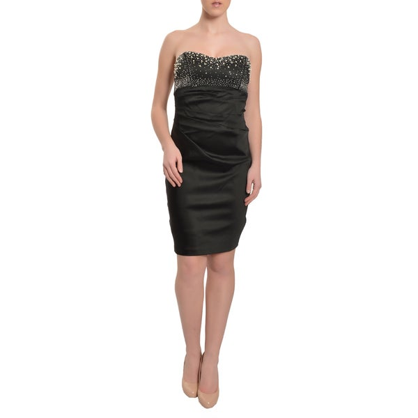 Alexia Admor Amazing Black Jeweled Fitted Cocktail Evening Dress