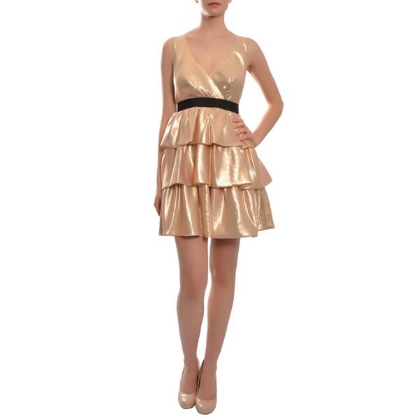 Badgley Mischka Metallic Peach Silk Tier Cocktail Party Dress