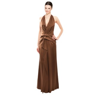 Alberta Ferretti Luscious Chocolate Silk Halter Pleated Evening Gown Dress