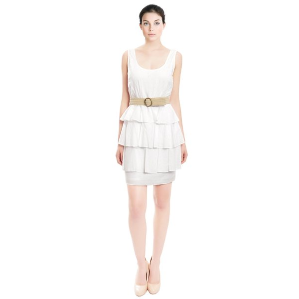Ali Ro Crisp White Cotton Eyelet Tiered Belted Fitted Day to Evening Dress
