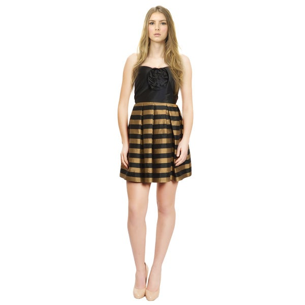 Alexia Admor Adorable Strapless Fit Flare Striped Rosette Eve Dress