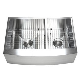 33-inch Double Bowl 60/40 Zero Radius Stainless Steel Curved Front Farm Apron Kitchen Sink Combo