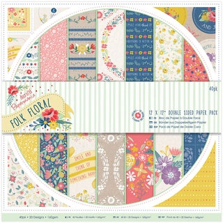 Papermania 12 x 12-inch Double Sided Paper Pack Folk Floral (Pack of 40)