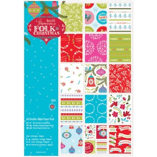 Papermania Double Sided Paper Pack A4 Linen Finish Folk Christmas (Pack of 32)