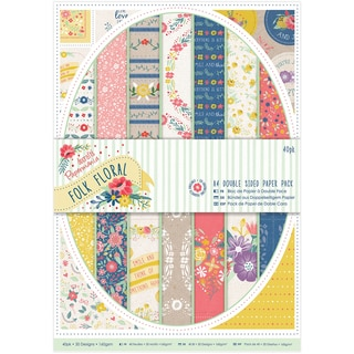Papermania Double Sided Paper Pack A4 Folk Floral (Pack of 40)