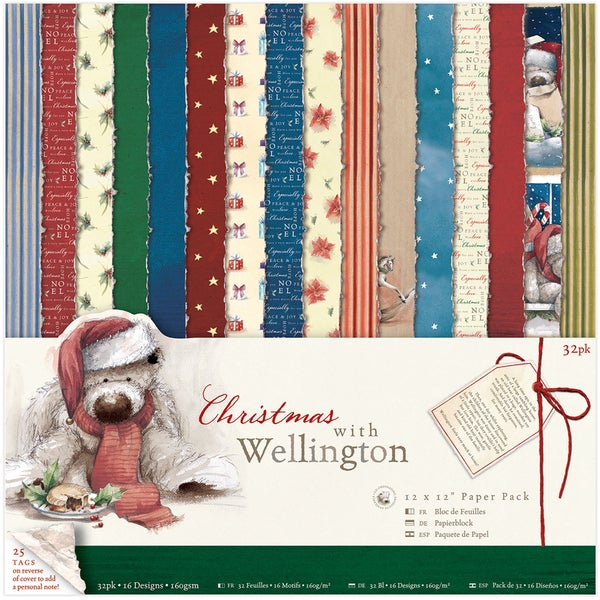 Wellington 12 x 12-inch Single Sided Paper Pack Christmas (Pack of 32)