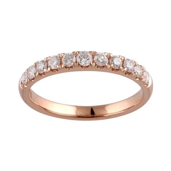 lan 14k Rose Gold 1/2ct TDW Diamond Single Row Anniversary Ring (D-F, I1-I2)