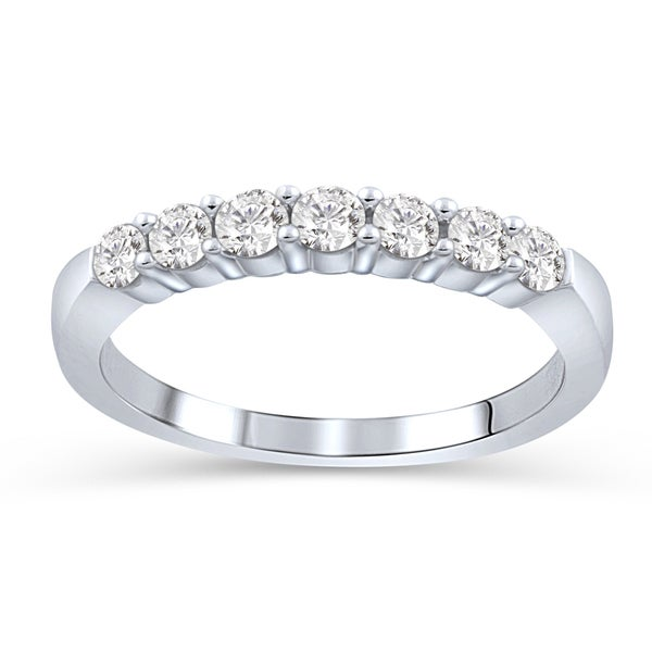lan 14k White Gold 1/4ct TDW Diamond 7-stone Anniversary Ring (D-F, I1-I2)