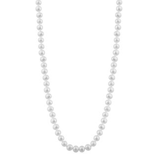 14k White Gold Freshwater Pearl Necklace (6mm)