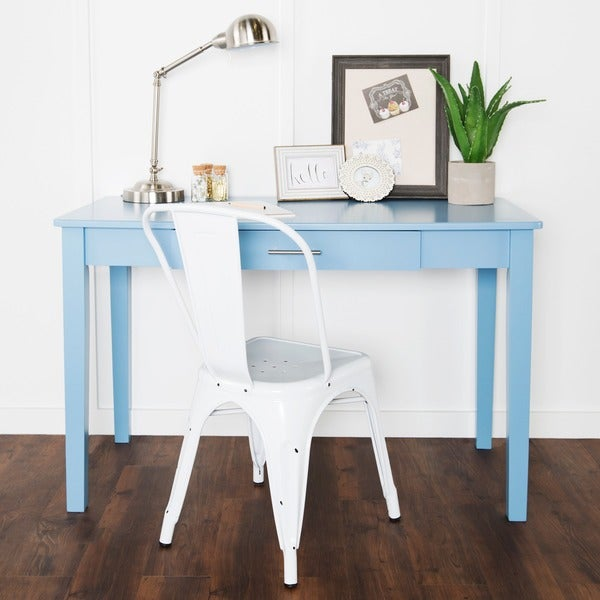 48 Inch Blue Wood Writing Desk 18164325 Overstock Com