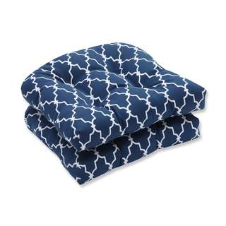 Pillow Perfect Outdoor/ Indoor Garden Gate Navy Wicker Seat Cushion (Set of 2)