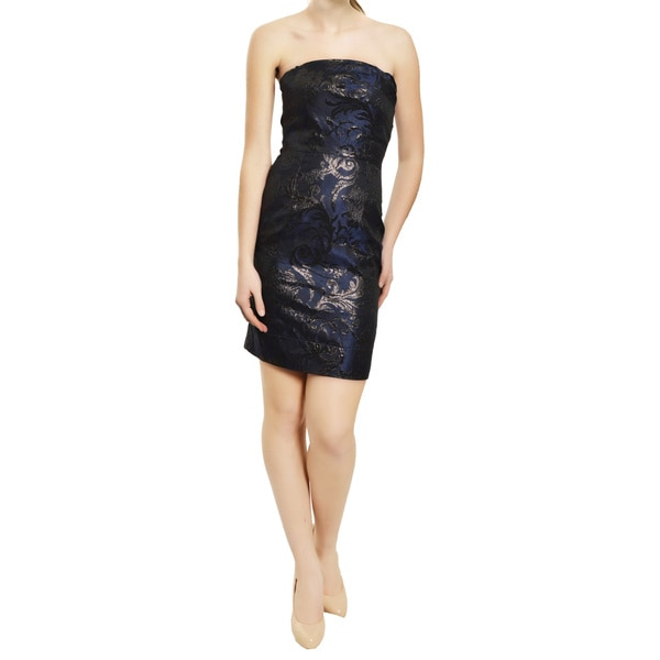 Alexia Admor Navy Black Brocade Fitted Strapless Tapered Evening Dress