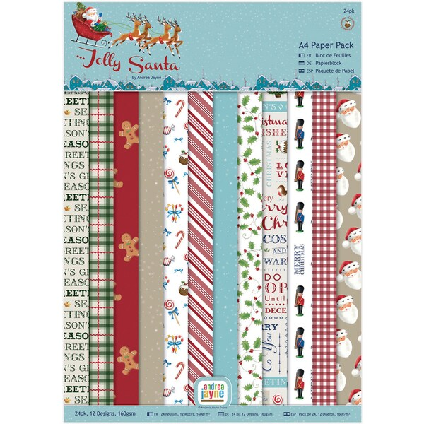 Papermania Single Sided Paper Pack A4 24/Pkg Jolly Santa