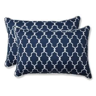 Pillow Perfect Outdoor/ Indoor Garden Gate Navy Over-sized Rectangular Throw Pillow (Set of 2)