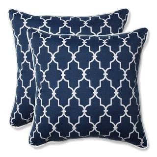 Pillow Perfect Outdoor/ Indoor Garden Gate Navy 18.5-inch Throw Pillow (Set of 2)