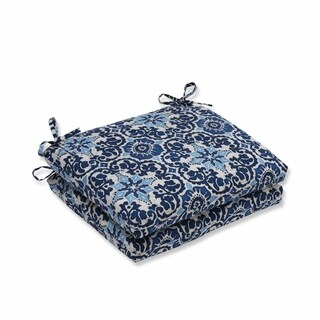 Pillow Perfect Outdoor/ Indoor Woodblock Prism Blue Squared Corners Seat Cushion (Set of 2)