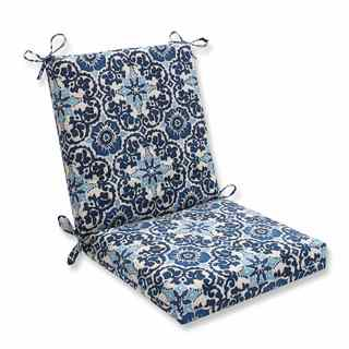 Pillow Perfect Outdoor/ Indoor Woodblock Prism Blue Squared Corners Chair Cushion