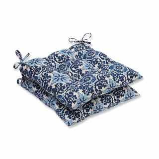 Pillow Perfect Outdoor/ Indoor Woodblock Prism Blue Wrought Iron Seat Cushion (Set of 2)