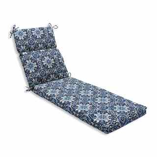 Pillow Perfect Outdoor/ Indoor Woodblock Prism Blue Chaise Lounge Cushion