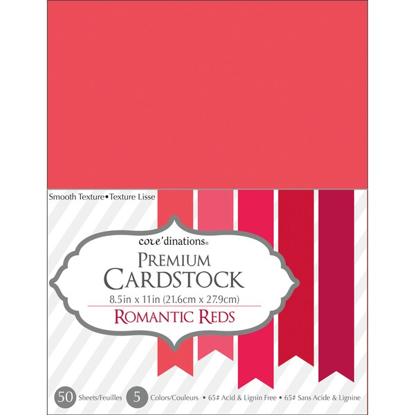 Core'dinations Value Pack Cardstock 8.5inX11in 50/Pkg Romantic Reds 17253624