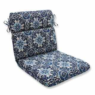 Pillow Perfect Outdoor/ Indoor Woodblock Prism Blue Rounded Corners Chair Cushion