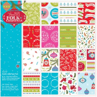 Papermania Double Sided Paper Pack 12inX12in 32/Pkg Folk Christmas, Linen Finish
