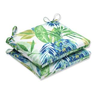 Pillow Perfect Outdoor/ Indoor Soleil Blue/Green Squared Corners Seat Cushion (Set of 2)