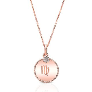 14k Rose Gold Diamond Accent Zodiac Symbol Pendant (H-I, VS1-VS2)