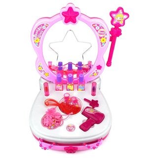Velocity Toys Star Magic Princess Children's Toy Vanity Mirror Play Set with Magic Wand, Accessories