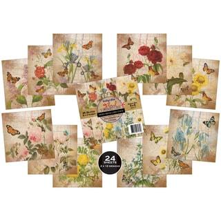 IndigoBlu Paper Stack 190gsm Cardstock 6inX6in 24/Pkg Floral Vignettes
