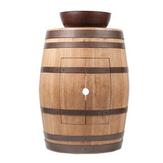 Premier Copper Products Wine Barrel Natural Finish Vanity Package with 15-inch Round Vessel Sink
