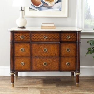 Safavieh Couture Collection Xristos European Beech/ Acacia Marble Walnut Storage 3-Drawers Chest