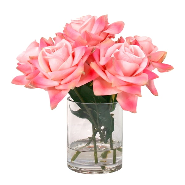 12-inch Fully Bloomed Pink Silk Rose Bouquet in Acrylic Water Vase