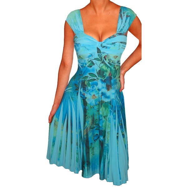 FunFash Women's Plus Size Blue Empire Waist Dress