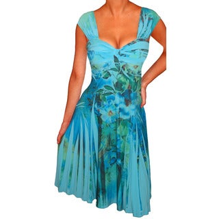 FunFash Women's Plus Size Blue Empire Waist Dress